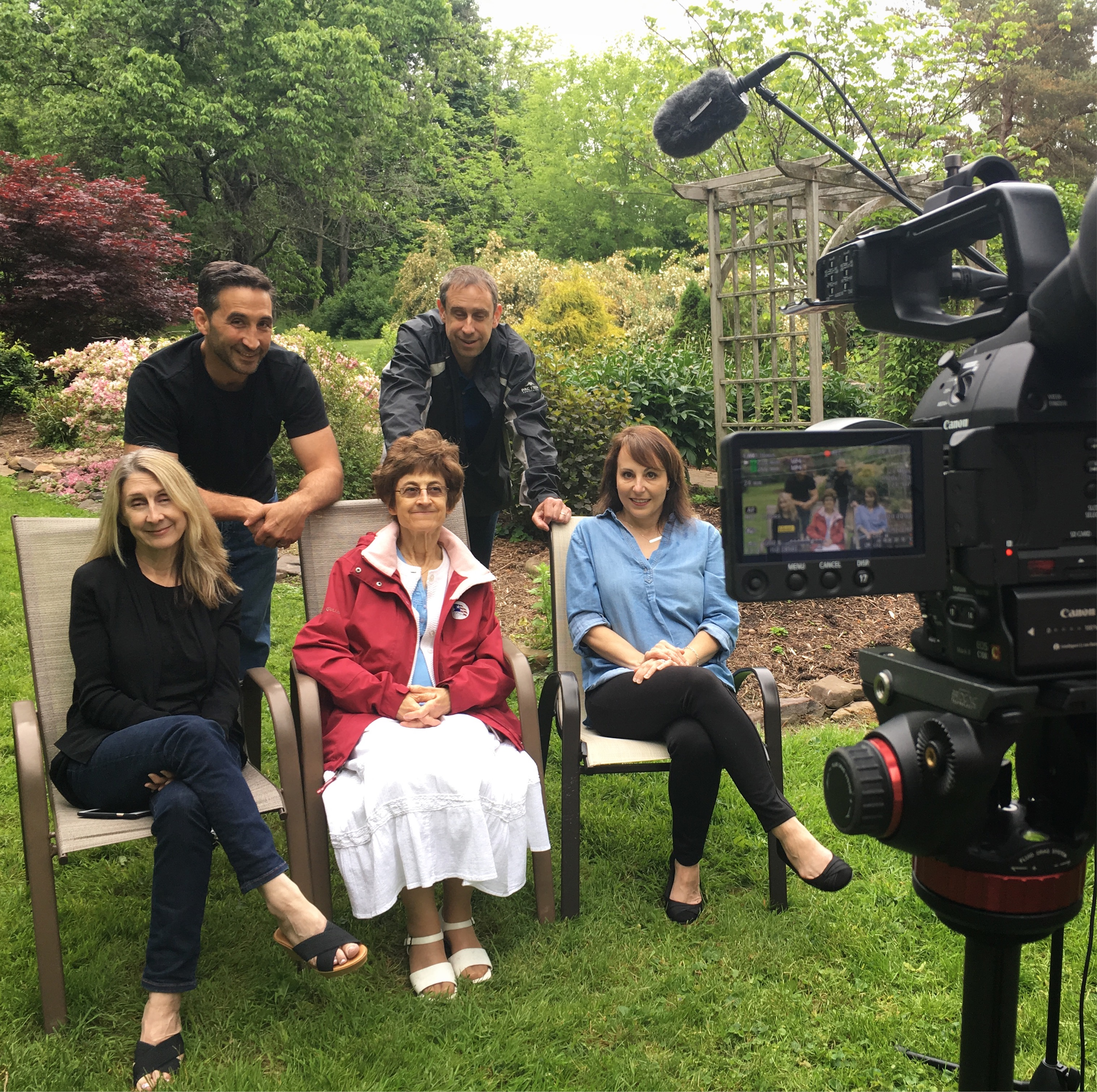 behind the scenes, filming, family, siblings, adults, legacy, memories, interview, garden, laughing, talking, mic, boom pole, camera, video, story, tell your story, Visual Legacy Productions