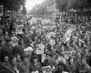 record, memories, photos, archive, public, image, picture, crowd, men, old, women, soldiers, newpapers, france, happy, peace, history, group, sacrifice, rest, service, army, military, story, remember, observe, VJ day, celebrate, achieve, blog, tell your story, Visual Legacy Productions